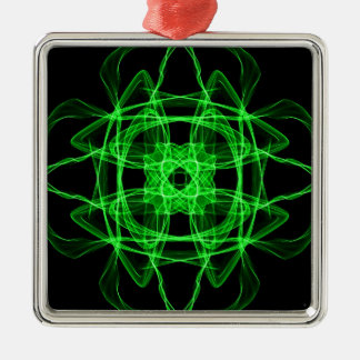 Green Abstract Fractal Silver-Colored Square Ornament
