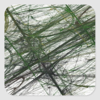 Green Abstract Fractal Square Sticker