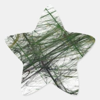 Green Abstract Fractal Star Sticker