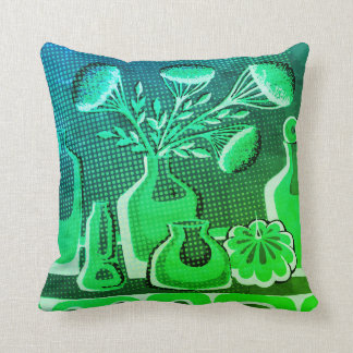 Green abstract home kitchen retro themed throw pillow