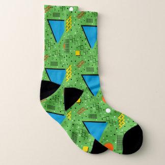 Green Abstract Memphis Design Socks