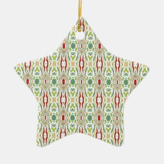 Green Abstract  Nature Shapes Design Ceramic Star Ornament