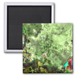 Green Abstract Nebula Refrigerator Magnet