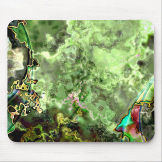 Green Abstract Nebula Mouse Pads