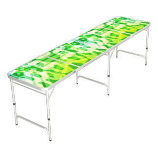 Green Abstract Pattern Beer Pong Table
