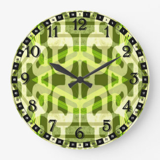 Green Abstract Pattern Large Clock
