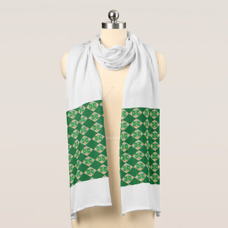 Green Abstract Print Jersey Scarf