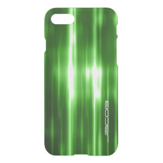 green abstract shiny lights personalized by name iPhone 7 case