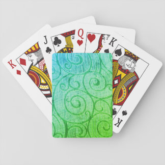 Green Abstract Spiral Playing Cards