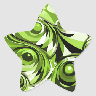 Green abstract star sticker