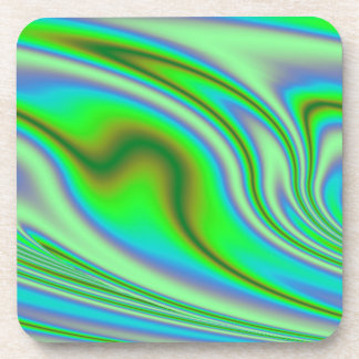 Green Abstract Swirl Coaster