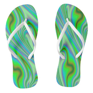 Green Abstract Swirl Flip Flops