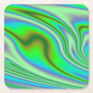 Green Abstract Swirl Square Paper Coaster