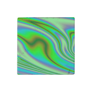 Green Abstract Swirl Stone Magnets