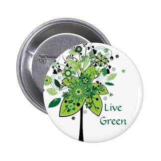 Green Abstract Tree 2 Inch Round Button