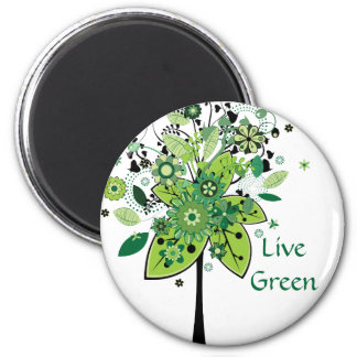Green Abstract Tree 2 Inch Round Magnet