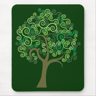 Green Abstract Tree Mouse Pad