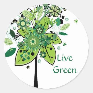 Green Abstract Tree Round Sticker