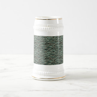 Green abstract waves pattern. Sea texture. Beer Stein