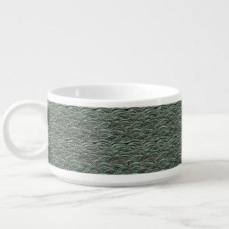 Green abstract waves pattern. Sea texture. Bowl