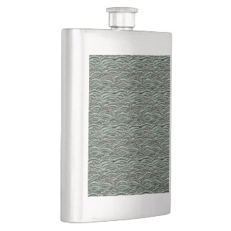 Green abstract waves pattern. Sea texture. Hip Flask