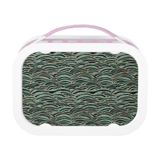 Green abstract waves pattern. Sea texture. Lunch Box