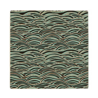 Green abstract waves pattern. Sea texture. Maple Wood Coaster