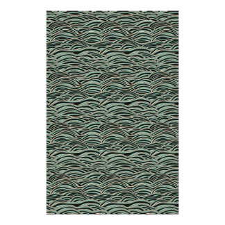 Green abstract waves pattern. Sea texture. Personalized Stationery