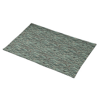 Green abstract waves pattern. Sea texture. Placemat