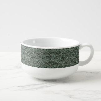 Green abstract waves pattern. Sea texture. Soup Mug
