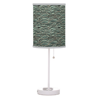 Green abstract waves pattern. Sea texture. Table Lamp