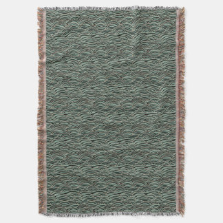 Green abstract waves pattern. Sea texture. Throw Blanket