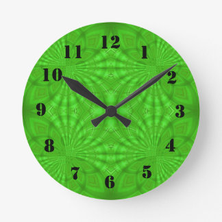 Green abstract wood Pattern Round Clock