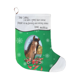 Green ADD YOUR HORSE Photo and Name Dear Santa Large Christmas Stocking
