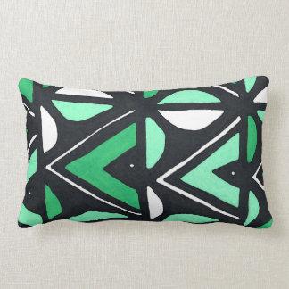 Green African Mudcloth Tribal Print Lumbar Pillow