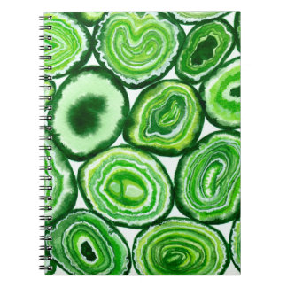 Green agate pattern notebook