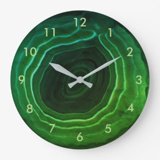 Green agate stone trendy smart with numbers. wall clocks