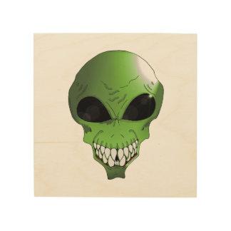 "Green Alien 8""x8"" Wood Wall Art"