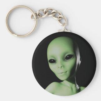 Green Alien Basic Round Button Keychain