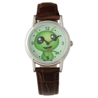 Green Alien Custom Classic Brown Leather Wristwatches