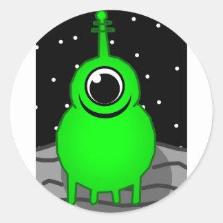Green Alien Drawing Classic Round Sticker