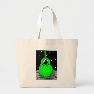 Green Alien Drawing Large Tote Bag