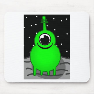 Green Alien Drawing Mouse Pad