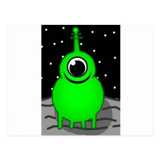 Green Alien Drawing Postcard