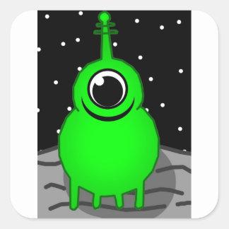 Green Alien Drawing Square Sticker