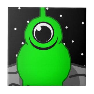 Green Alien Drawing Tile