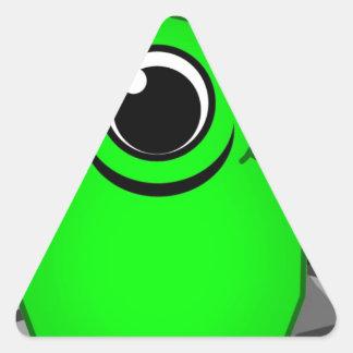 Green Alien Drawing Triangle Sticker