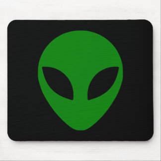 Green Alien Head Mouse Pad
