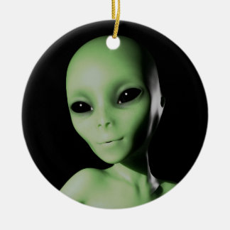 Green Alien Round Ceramic Ornament