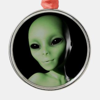 Green Alien Silver-Colored Round Ornament